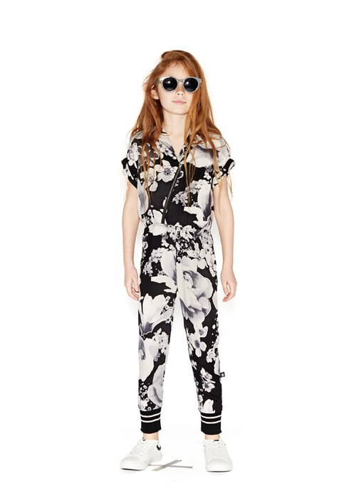 f0f4be185734 Anita - Black Floral - short sleeve jumpsuit with flower print - Molo
