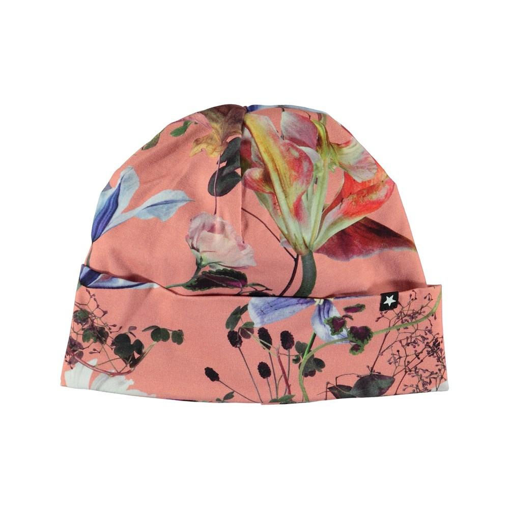 Namora - Flowers Of The World - Blommig mössa med uppvik.