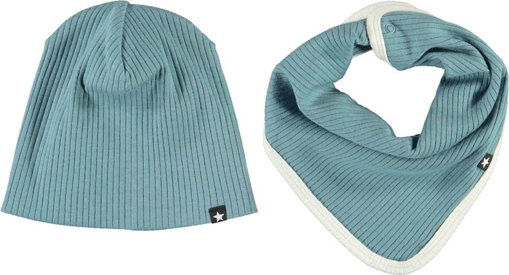 Neci hat and bib set - Aero - Ljusblå babymössa med ljusgula kanter