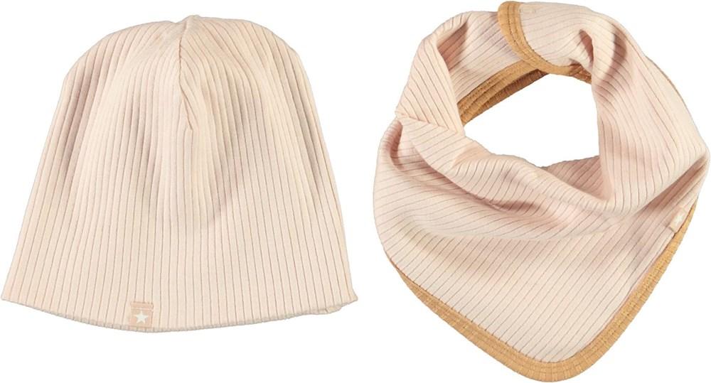 Neci hat and bib set - Cameo Rose - Rosa babymössa och hakklapp med bruna kanter