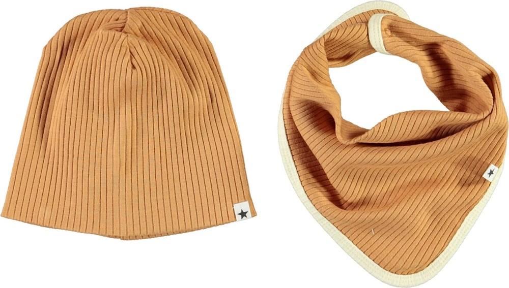 Neci hat and bib set - Deer - Brun babyhue og hagesmæk med gul kant