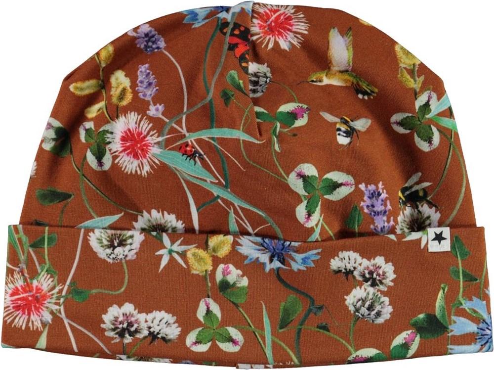Nico - Wildflowers - Brun mössa med blommor