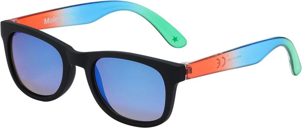 Star - Black - Svarta solglasögon med blå linser