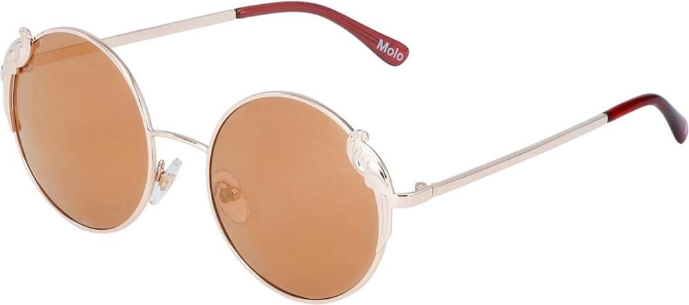Summertime - Gold - Ovala solglasögon med rökfärgade glasögon