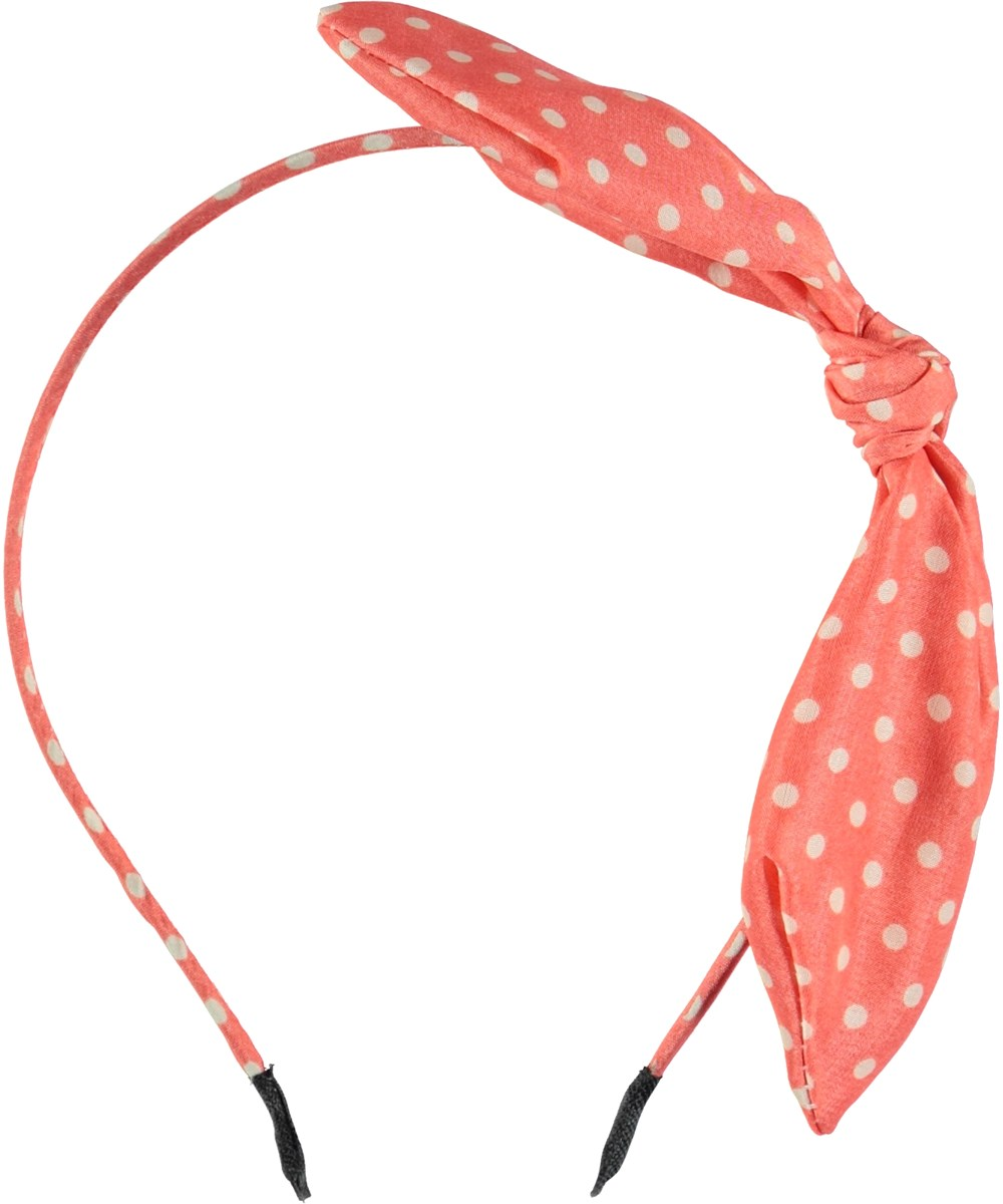 Tie Bow Hairband - Hot Coral -