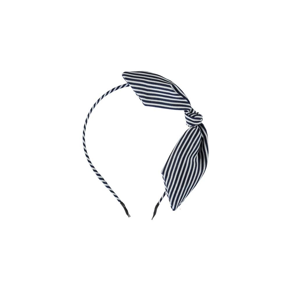 Tie Bow Hairband - Sky Captain - Randigt diadem med rosett.