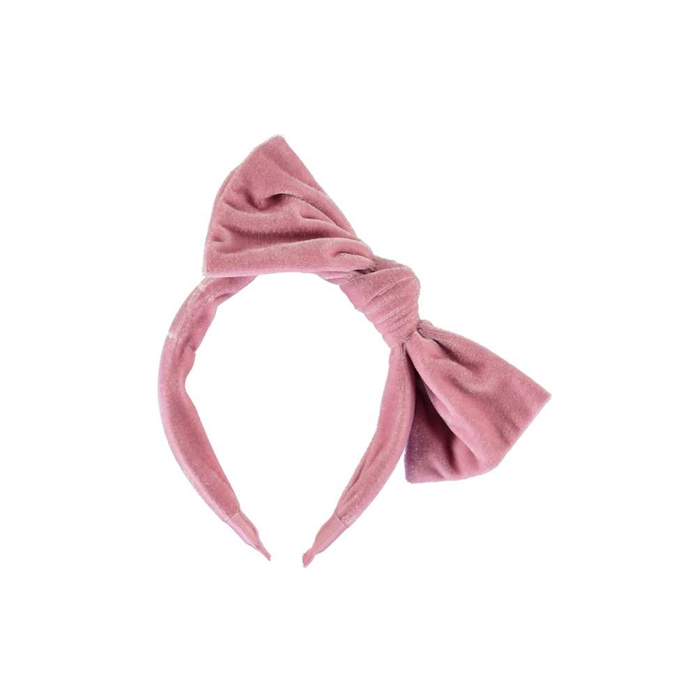 Velvet hairband - Cameo Rose - Rosa sammet diadem med rosett.