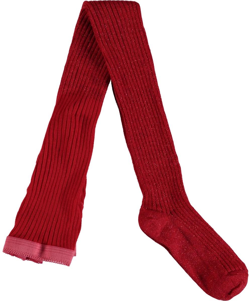 Lurex ribb tights - Chili - Röda strumpbyxor med glitter.
