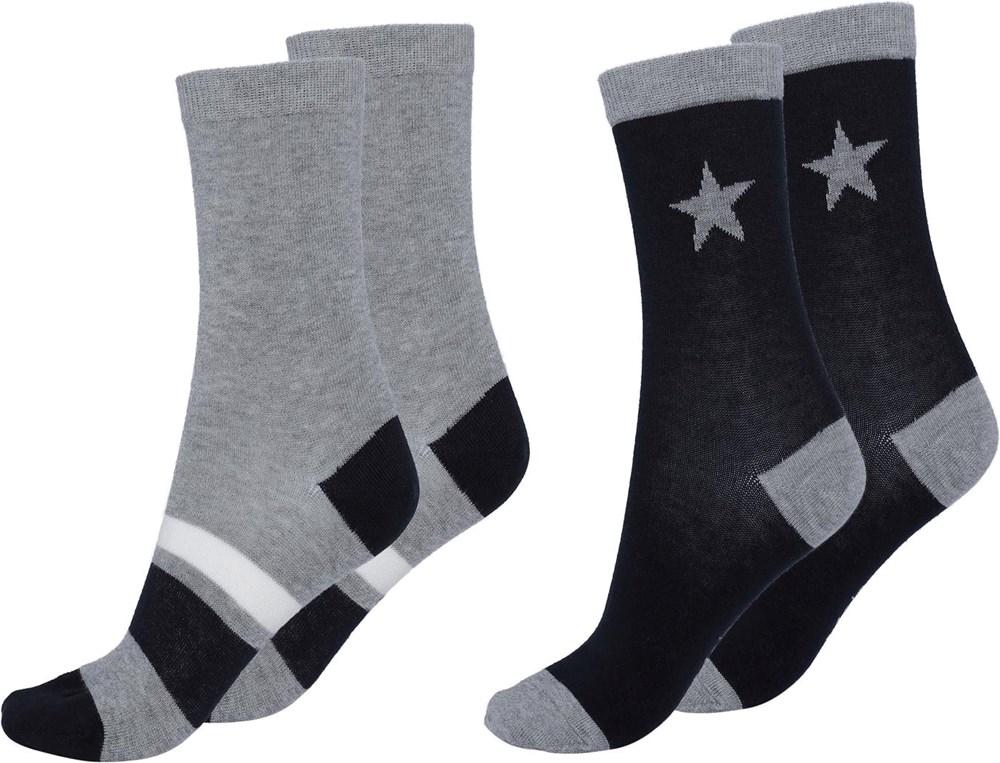 Nitis - Dark Navy - Två par strumpor med stjärna