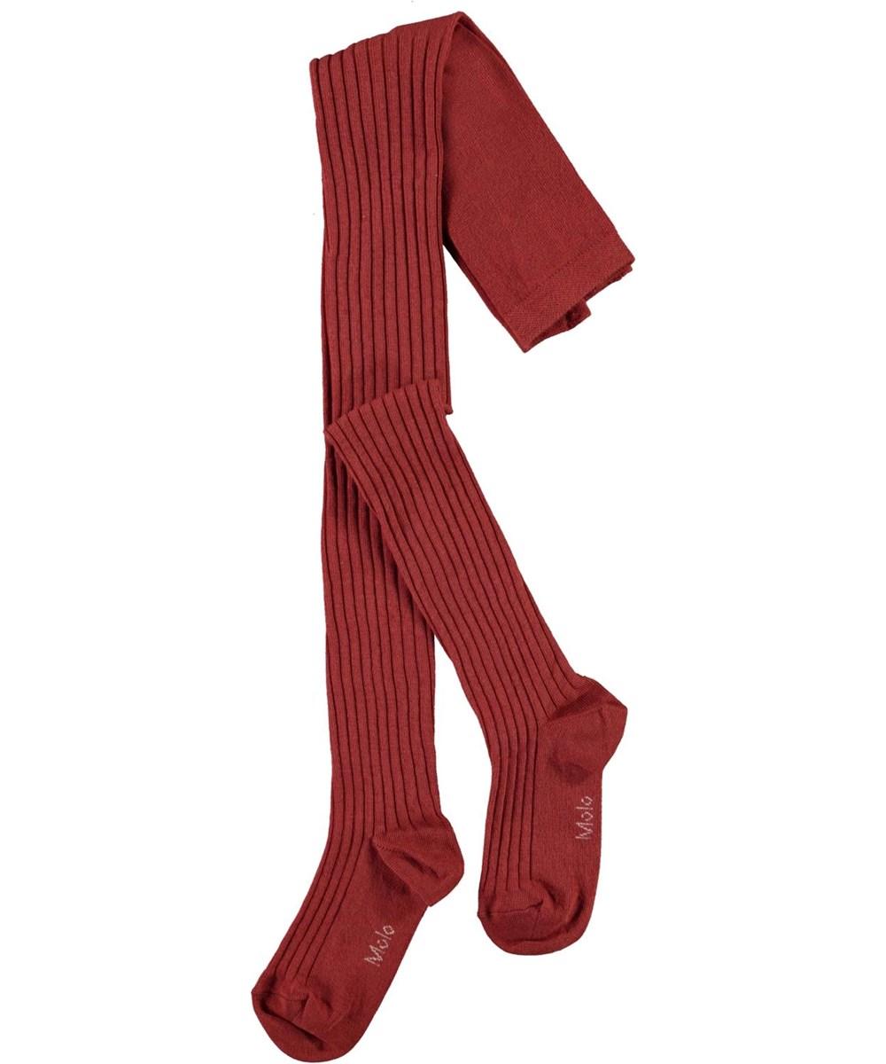 Rib Tights - Burnt Brick - Röda ribbade strumpbyxor