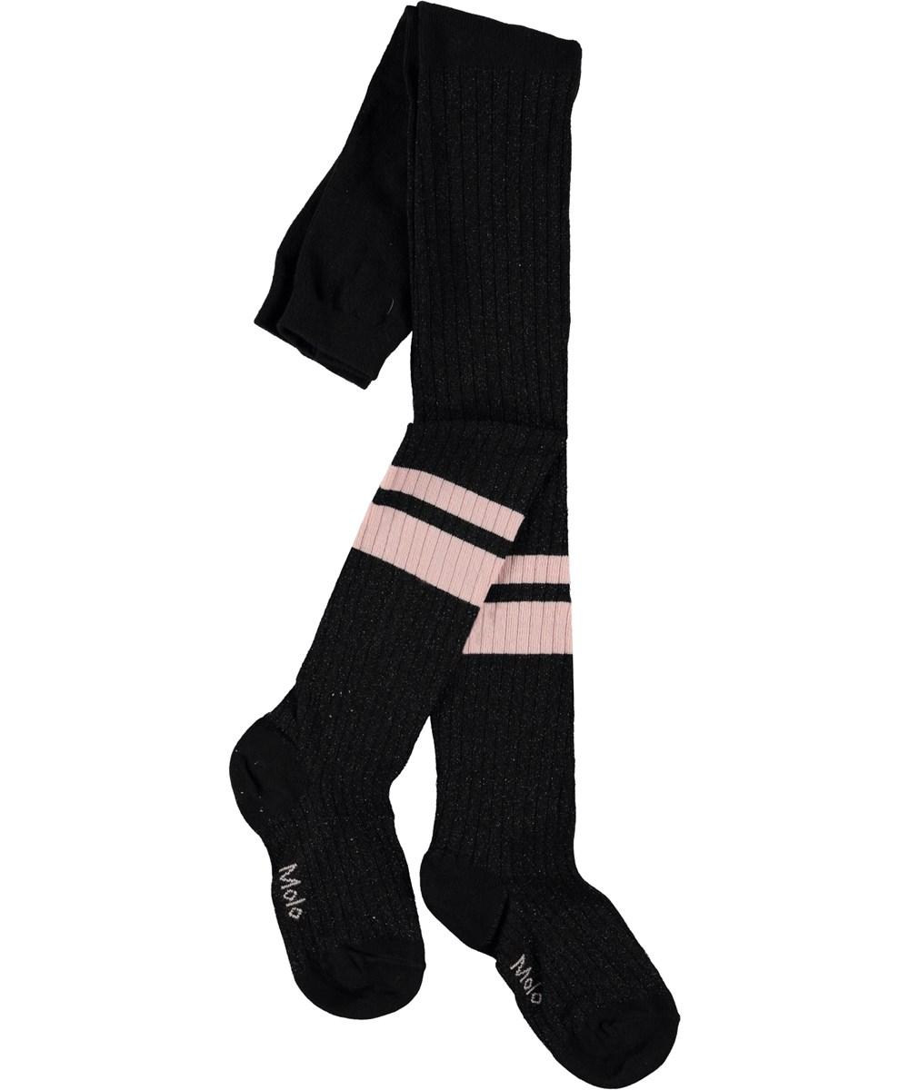 Sporty Rib Tights - Black - Strumpbyxor med ränder.