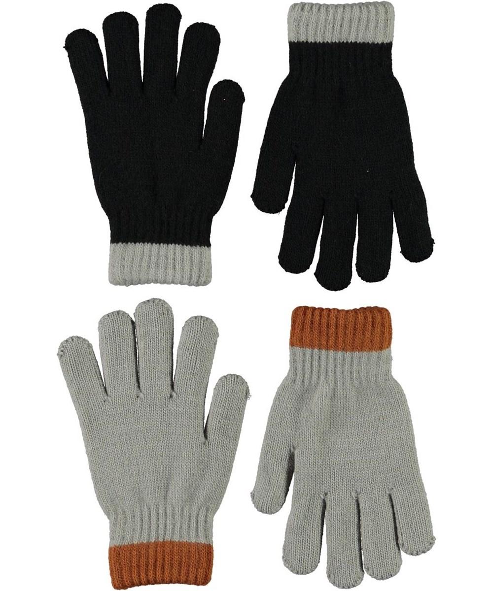 Kaapo - Black - Två par fingervantar i svart och grått.