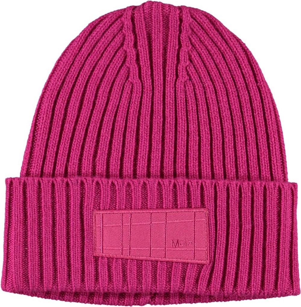 Karli - Wild Pink - Kabelstickad rosa mössa i ull.