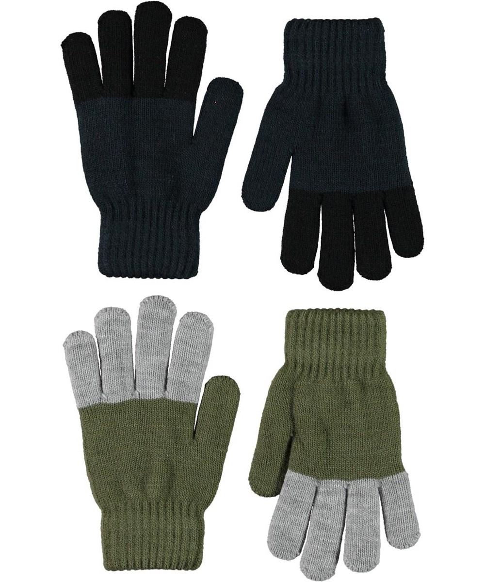Keen - Carbon - Två par fingervantar i mörkblått och grönt.