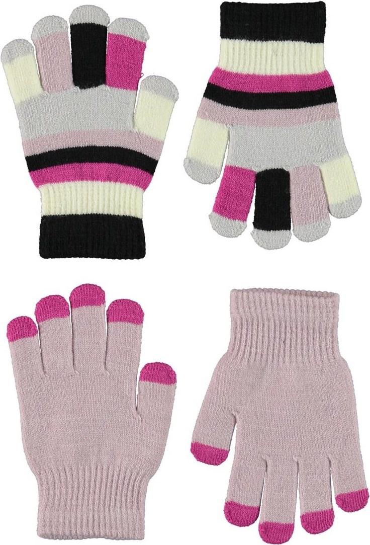 Kei - Blue Pink - Två par fingervantar i mjukt rosa och randigt.