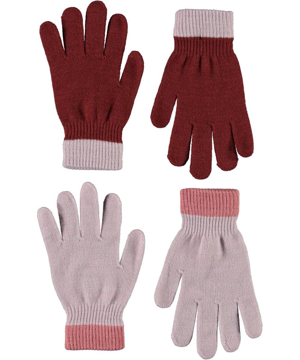 Kello - Blue Pink - Två par fingervantar i rött och rosa.