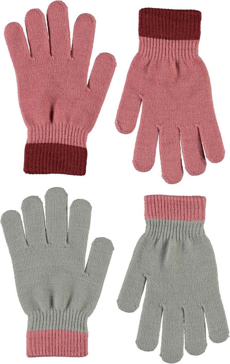 Kello - Maple - Två par fingervantar i rosa ochgrått.