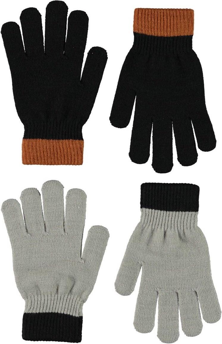 Kello - Warm Grey Melange - Två par fingervantar i svart och grått.