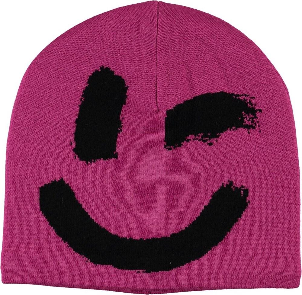 Kenzie - Wild Pink - Rosa mössa med smiley.