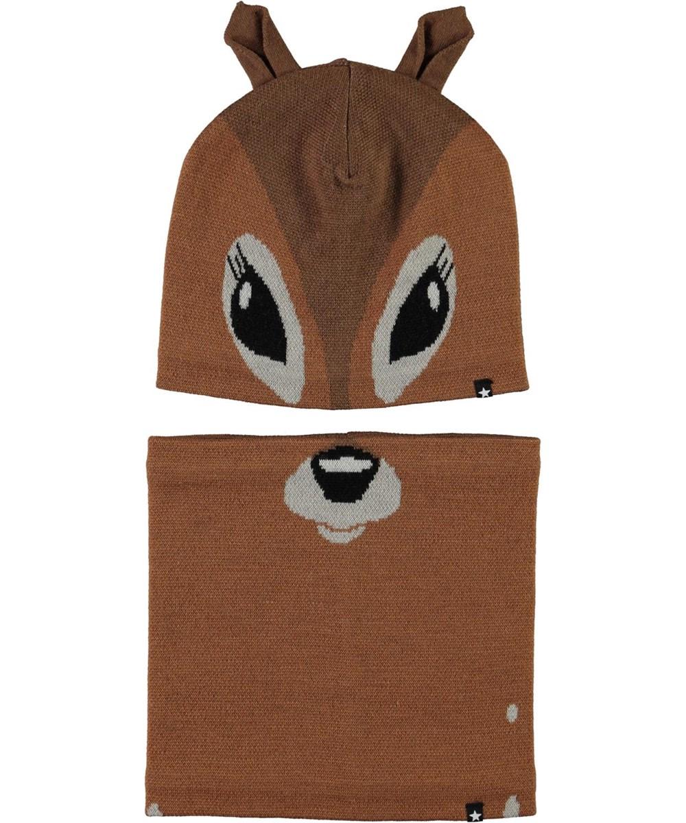 Kleo - Deer - Mössa och halskrage med rådjursmönster.