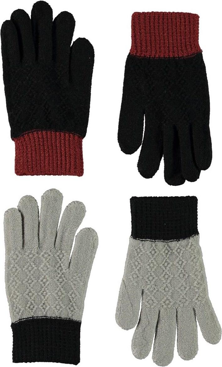 Kyra - Warm Grey Melange - Fingervantar med mönster o grått och svart.