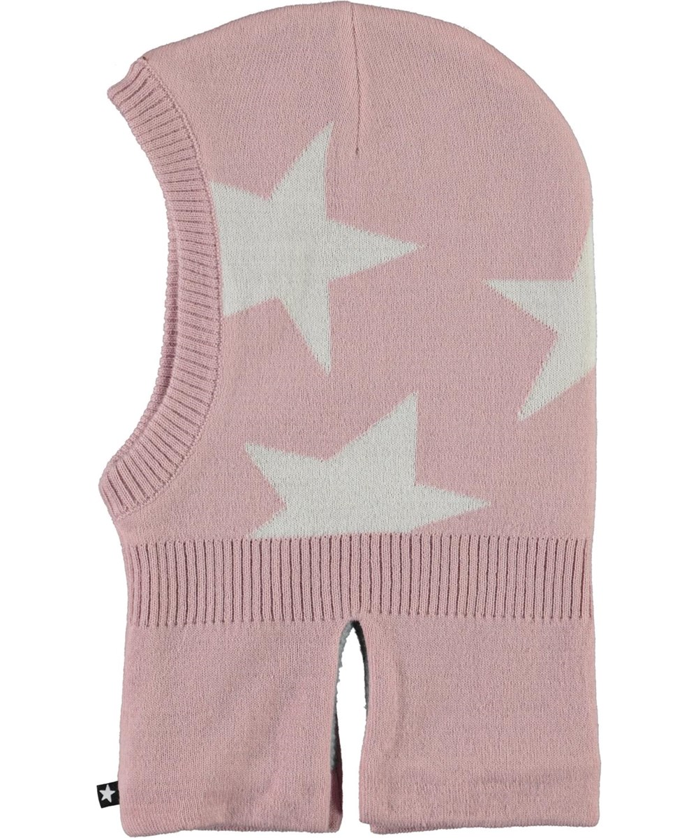 Snow - Blue Pink - Rosa balaclava med stjärnor.