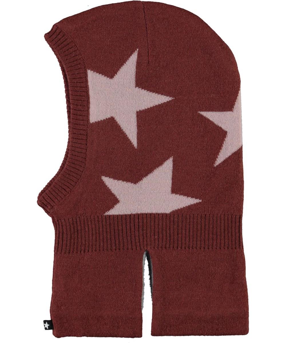 Snow - Rosewood - Mörkröd balaclava med stjärnor.