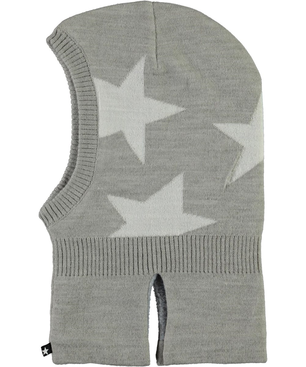 Snow - Warm Grey Melange - Grå balaclava med stjärnor.