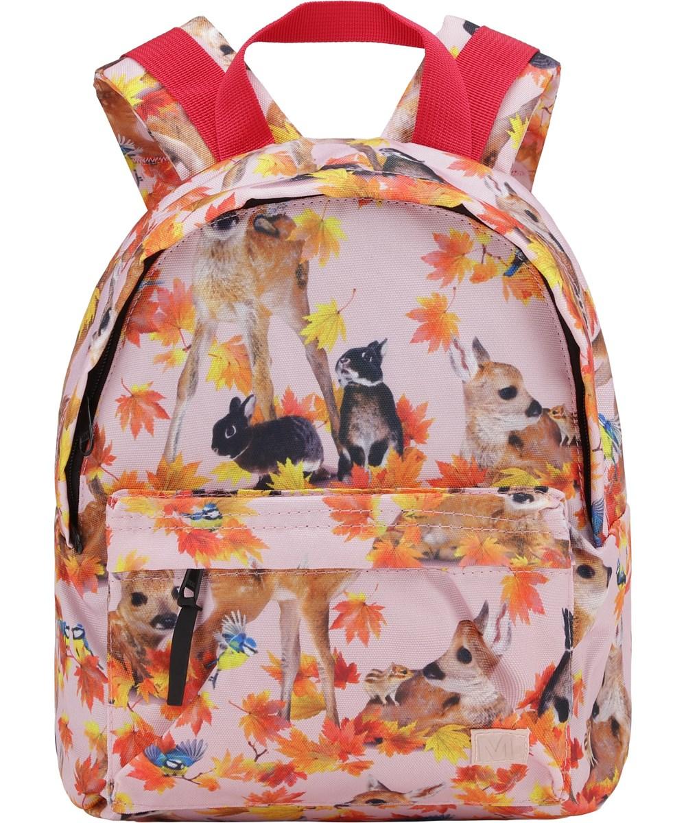 Backpack - Autumn Fawns - Återvunnen rosa ryggsäck med djur