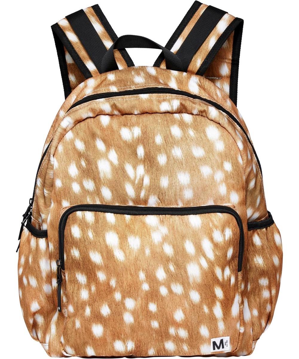Big Backpack - Baby Fawns - Återvunnen brun ryggsäck med vita fläckar.