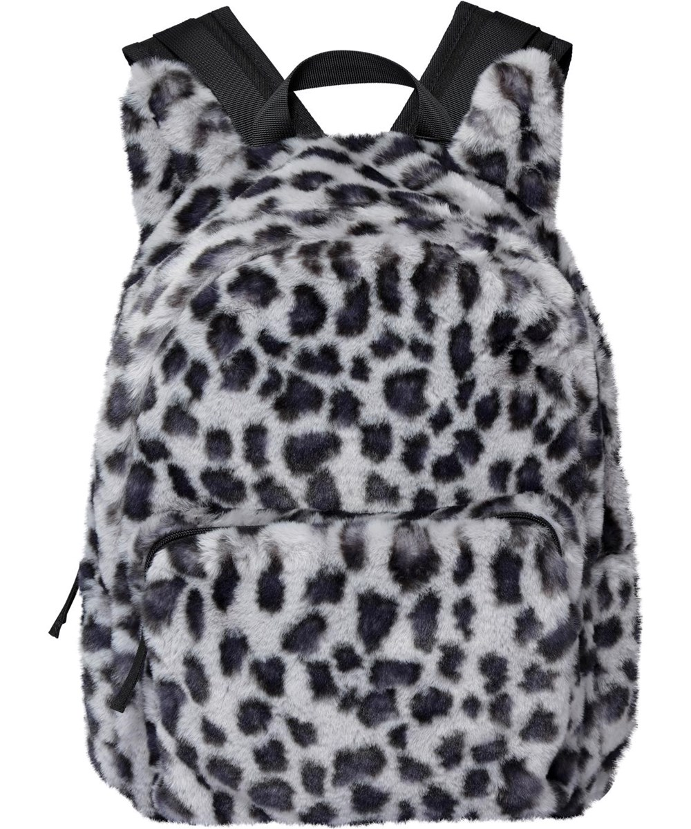 Furry Backpack - Snowy Leo Fur - Ryggsäck med fuskpäls snöleopard