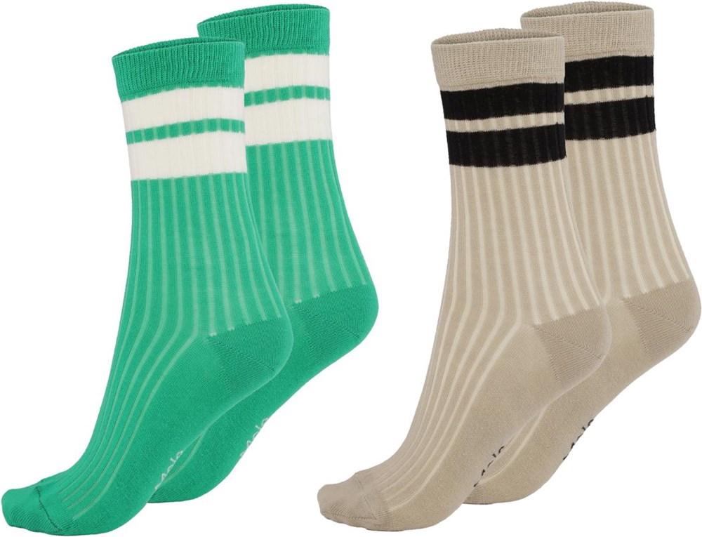 Nickey - Royal Green - Twee paar sokken met strepen
