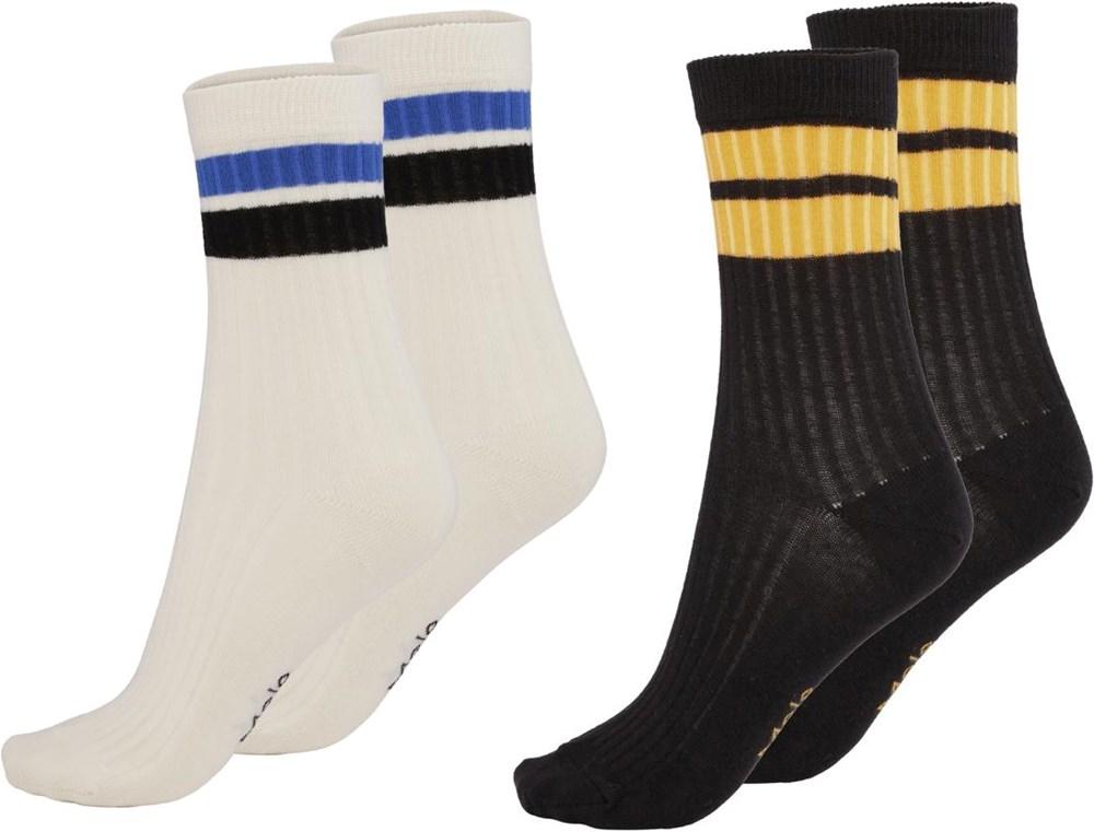 Nickey - White Star - Twee paar sokken met strepen
