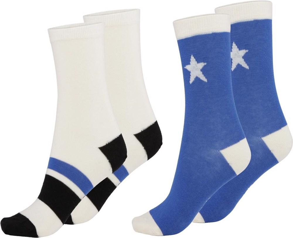 Nitis - Cobalt - Twee paar sokken met sterren en strepen