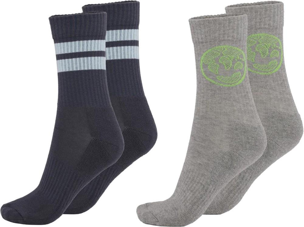Norman - Grey Melange - Twee paar sokken met de planeet Aarde