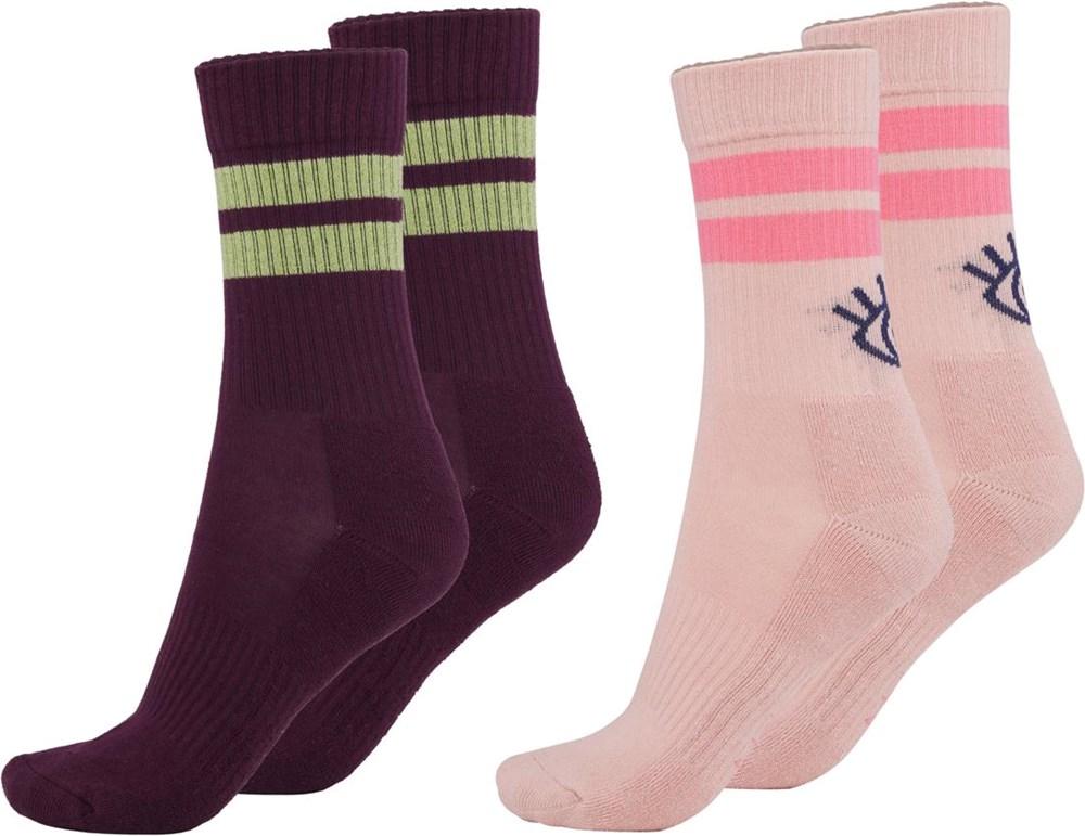 Numa - Petal Blush - Twee paar sokken met een oog en strepen