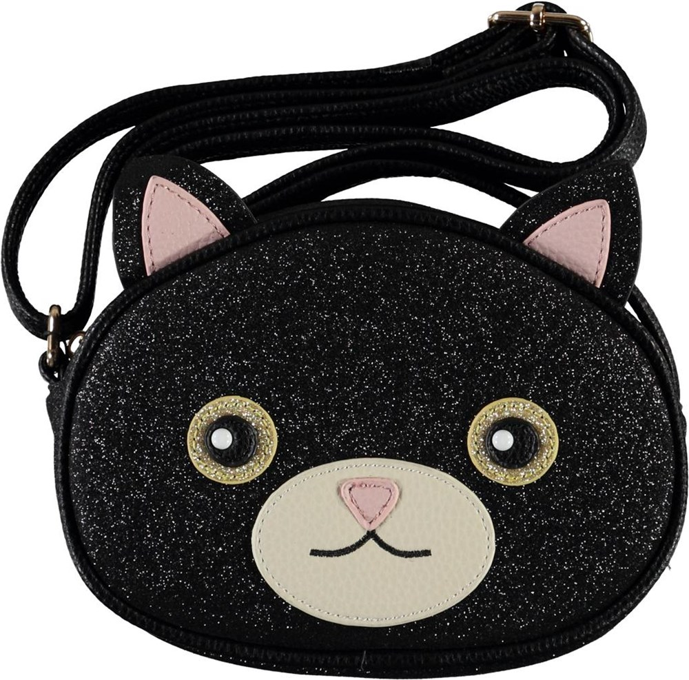 Cat Bag - Black Glitter - Zwarte kat schoudertas
