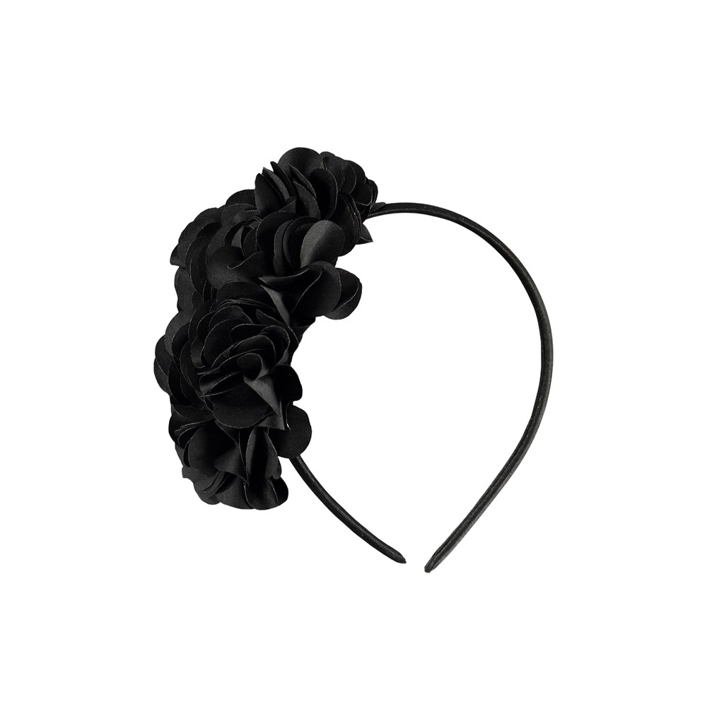 Frilly Hair Band - Black - Black hairband with large flower