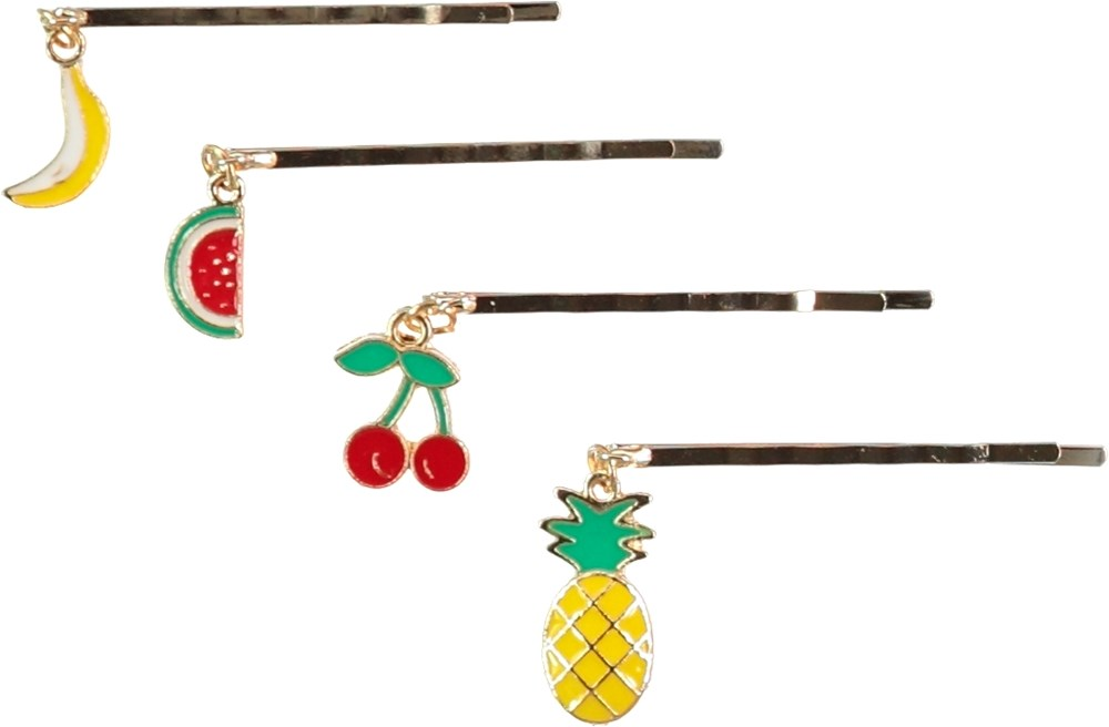 Fruit Hair Clips - Multi Color - Hair clips with fruit shaped charms