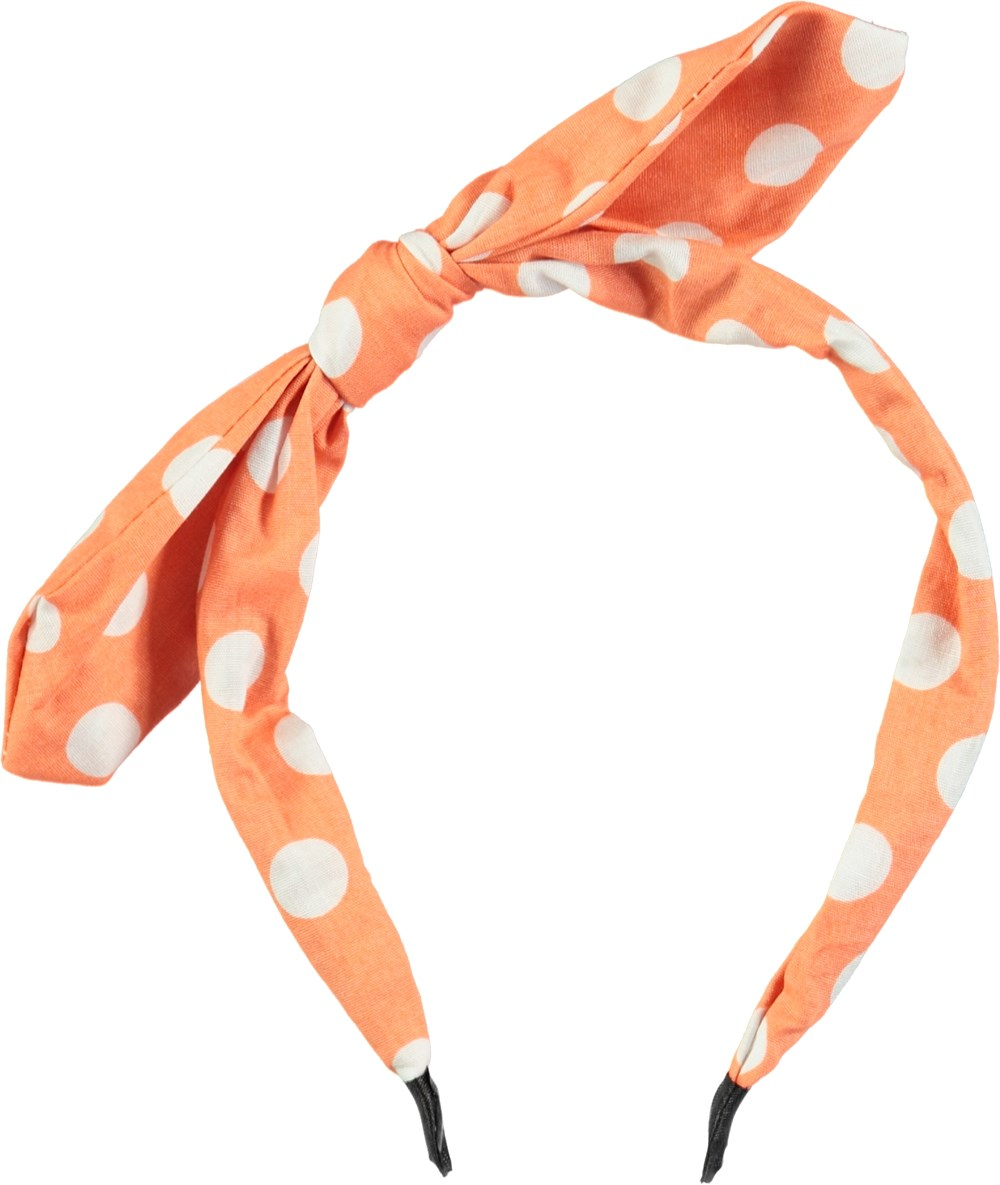 Minnie Hair Band - Orange Dots - Orange hairband with dots and a bow