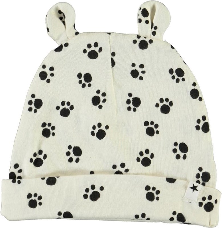 Natali - Puppy Paws - White baby hat with dog paws