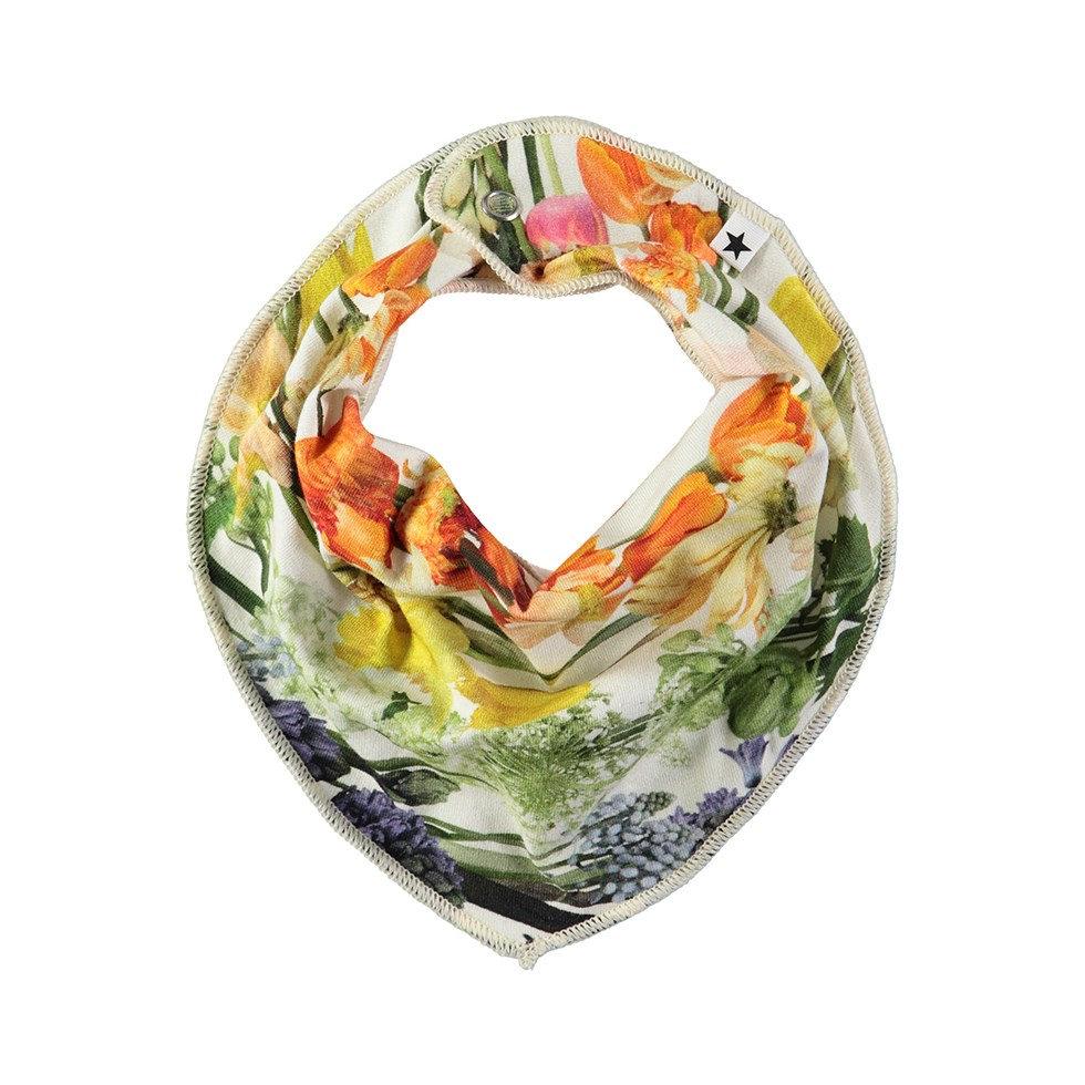 Nayela - Rainbow Bloom - Bandana-inspired bib with digital flower print