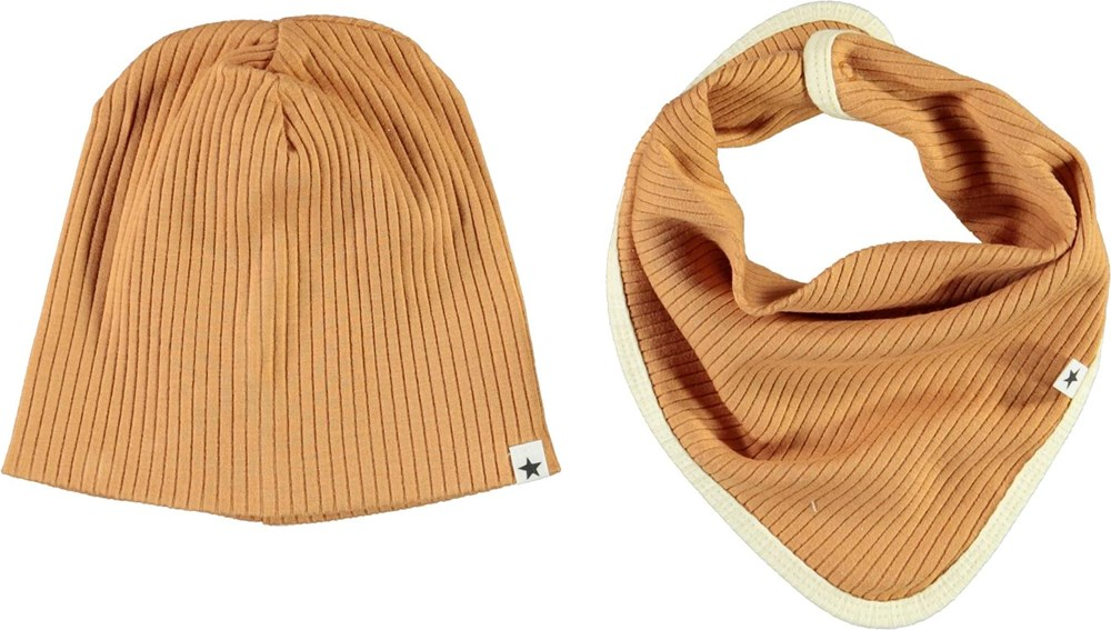 Neci hat and bib set - Deer - Brown baby hat and bib with yellow edge