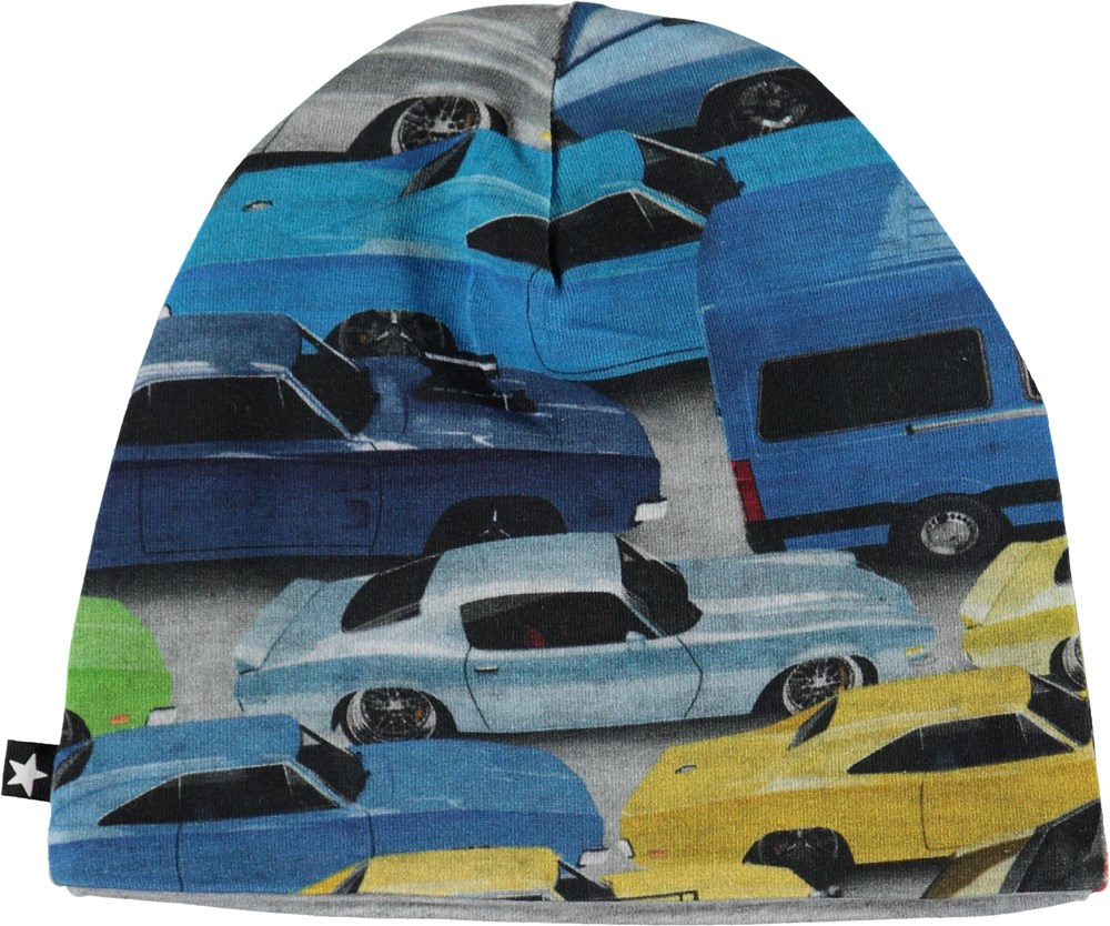 Ned - Cars - Organic blue hat with cars