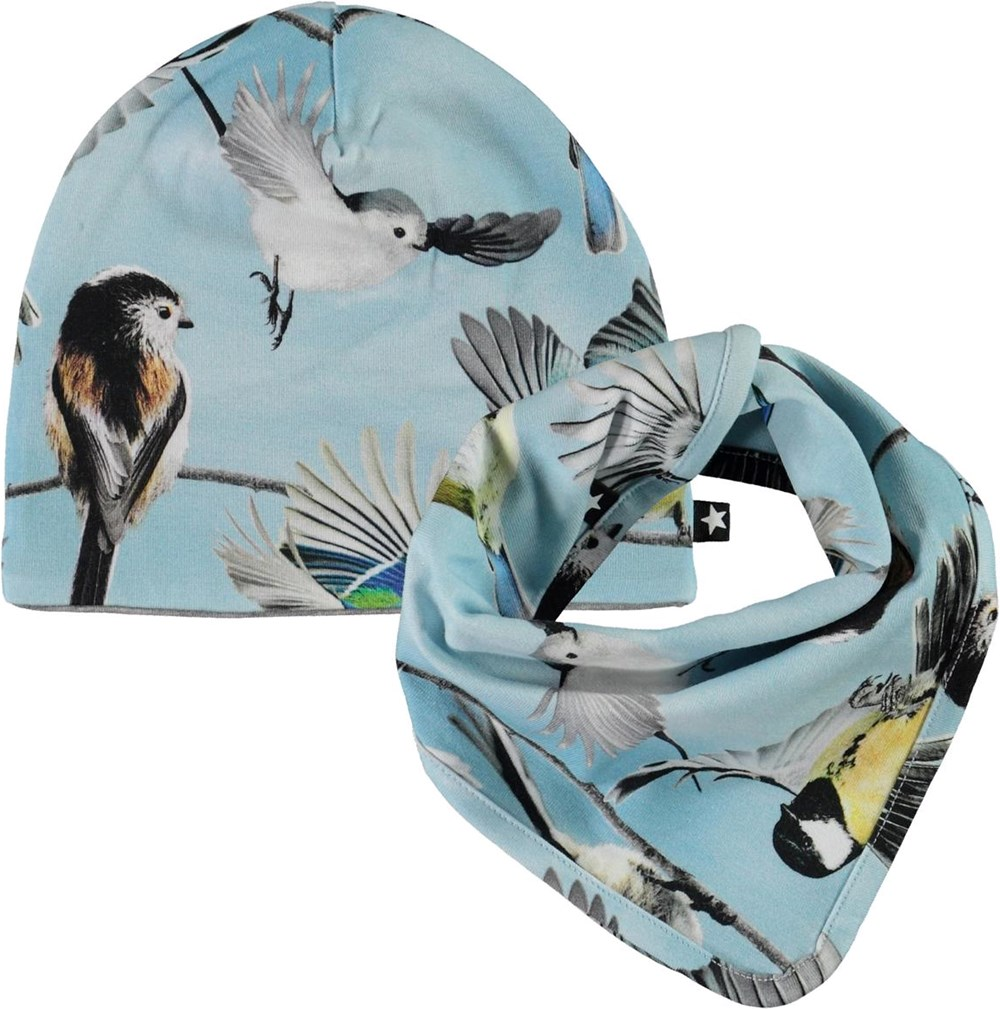 Ned Hat and Bib Set - Baby Birds - Baby hat and bib in light blue with print of small birds