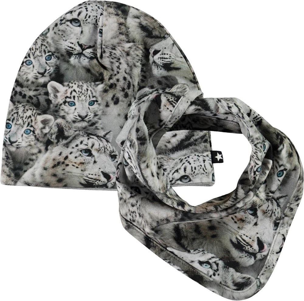 Ned Hat and Bib Set - Baby Leopards - Baby hat and bib in snow leopard print