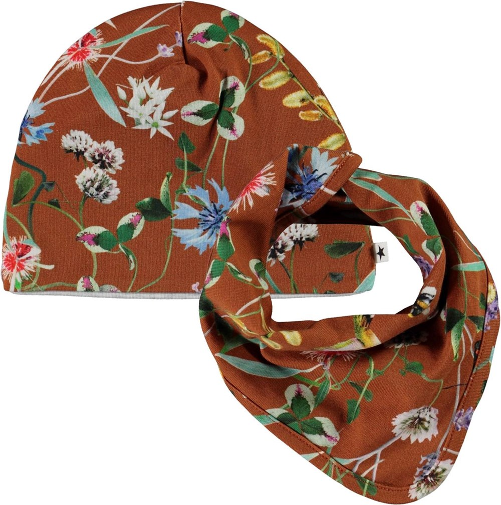 Ned Hat and Bib Set - Wildflowers - Brown baby hat and bib floral