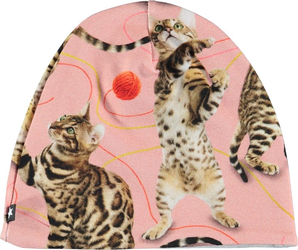Nedine - Wannabe Leopard - Pink baby hat with cats.