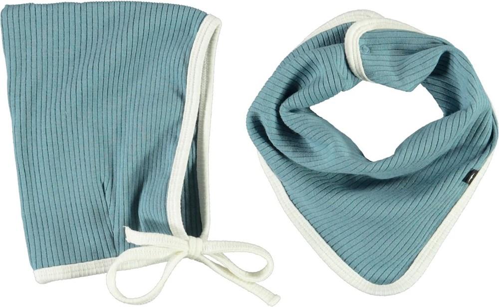 Nevada hat and bib set - Aero - Light blue baby hat and bib with white edge