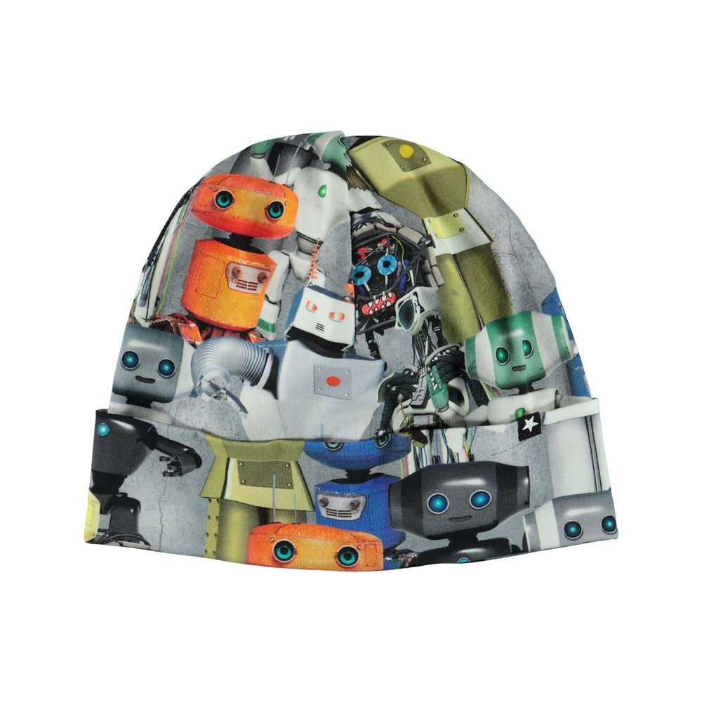 Nico - Robots - Hat with a roll up and robot print.